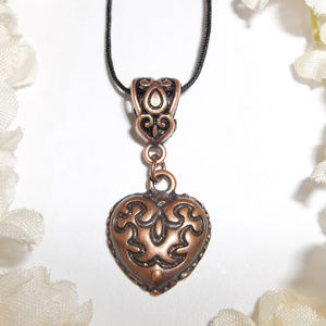 Rustic Heart Necklace Adjustable Coppper NWT 4919